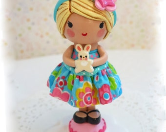 Available~Giggle Bunny Cake Topper ~ Little Girl and Her Rabbit 1st Birthday Flower Headband Nursery Décor Children~Baby's 1st Keepsake
