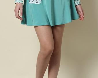Sale, Womens skirts, Mini skirt, High waisted skirt, green skirt, Day skirt, Casual skirt, Skirt with pockets, Dinosaur print, Jurassic park