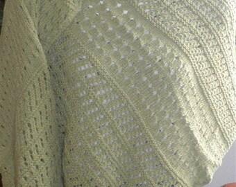Green Cotton Shawl Knitted Shawls Wraps Hand Knit Fashion Handmade Gifts Knitwear Accessories Organic Cotton Shawls Wraps
