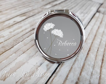 Bridesmaids Gift Personalized Compact Mirror- Falling Petals