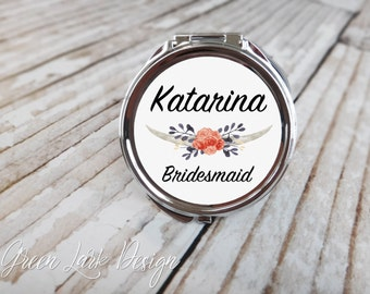 Personalized Bridesmaid Compact Mirror - Wunterfel Floral Design #3