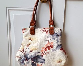 Barkcloth Bark Cloth Handbag Vintage Fabric Bag