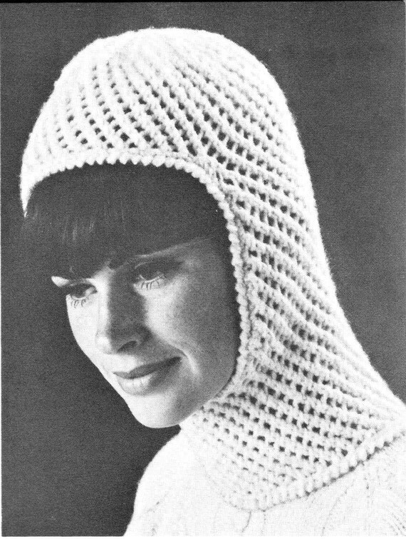 Ladies Balaclava Knitting Pattern : vintage knitting pattern ladies womens winter hat balaclava