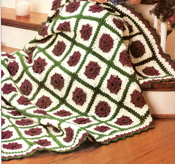 Vintage Crochet Pattern Poinsettia Flower Rose Granny Square