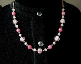 Rhodinite, Rose Quart, Rose Gold and Rose Blush Glass Necklace & Earring Set - Mid Century  Modern - Vintage Inspired
