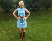 Mod Mini Dress // 1960s Wool Shift Dress // Powder Blue Go Go Dress // Fall Fashion Back to School // Size Medium Large
