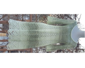 "Mohair Lace hand knitted dress/ Green wide strips yarn with Metallic Shine /One Of A Kind/ best fit for size L/ 36""-39"" bust/ Ready to Ship"