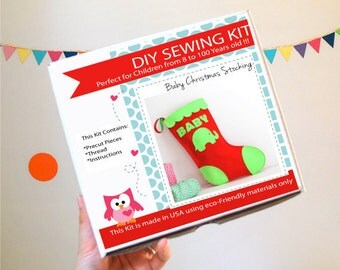 Christmas Stocking Sewing Kit, Felt Kids' Crafts, Felt Sewing Kit in a Box, 8+ years old craft, No need sewing machine READY TO SHIP A763