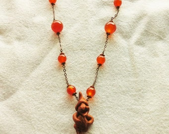 Carnelian Gnome or Troll Necklace