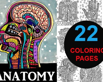 22 Anatomy Digital coloring book pages,Heather Galler Medical Dental Science adult coloring book, coloring pages, printable coloring