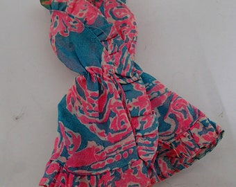 Ruffles n Swirls Vest Dress Blue Pink Vintage Mod Barbie Doll Mattel Clothes Accessories