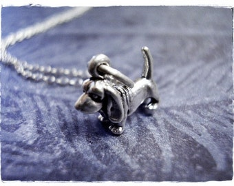Tiny Silver Basset Hound Necklace - Sterling Silver Basset Hound Charm on a Delicate Sterling Silver Cable Chain or Charm Only