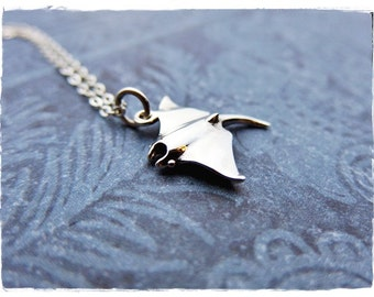 Silver Manta Ray Necklace - Sterling Silver Manta Ray Charm on a Delicate Sterling Silver Cable Chain or Charm Only