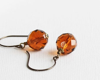 Whiskey Brown Earrings, Topaz Brown Dangle Earrings, Brown Bead Earrings, Fall Color Earrings, Autumn Jewelry, Faceted Glass Earrings