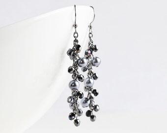 Long Black Cluster Dangle Earrings on Gunmetal Hooks, Cascade Earrings