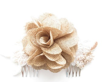 Burlap Bridal Accessory in Champagne and Ivory with a Burlap Inspired Rose Worn as a Comb, Clip or Headband
