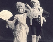 Young Boy and Girl In CLASSIC VICTORIAN POSE - He Holds Her Hand While She Holds Her Fan In The Other Photo Chicago Illinois 1900
