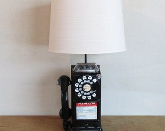 "Mid Century Rotary Dial Payphone Upcycled into Table Lamp ""A Unique Conversation Piece"""