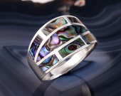 STERLING ABALONE RING Sterling Silver 925 Estate Jewelry Geometric Gift Natural Paua Shell Size 7.5 up to 7.75