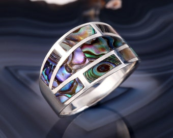 STERLING ABALONE RING Sterling Silver 925 Estate Jewelry Geometric Gift Natural Paua Shell Size 7.75