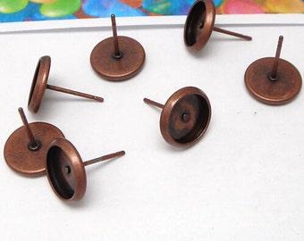 100 Blank Post Earring- Brass Antique Copper Tone 10mm Round Bezel Setting Ear Studs (Rubber Ear Nuts included)