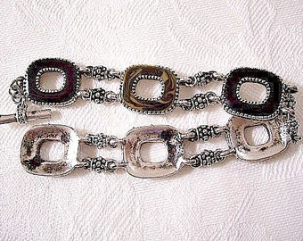 Black Gold Swirl Bracelet Silver Tone Vintage Open Square Wide Band Links Crimped Edges Nail Head Accents Toggle Bar Clasp