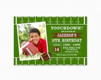 Football Birthday Party Invitation, Green, Brown, Boy, Football Invite, Printable, Personalized