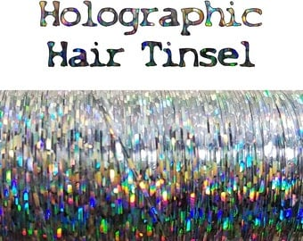 "14"" or 18"" Inch Long Sparkly Holographic Silver Rainbow Reflective Tinsel Bling Hair Clip"