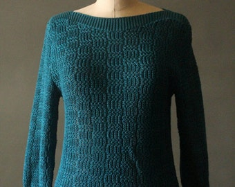 Vintage 80's Teal Knit Pullover Sweater by It's Pure Gould
