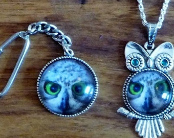Lovely Owl Pendant Necklace and Key Ring Set NEWYEARSALE2017FEB 10% Off *Choose Your Own Owl* Plus Free Fridge Magnet