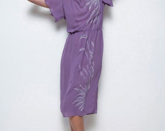 sheer purple dress vintage 70s glitter painted design S M SMALL MEDIUM (SU-1)