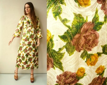 1970's Vintage Golden Metallic Floral Brocade Maxi Dress Size Small