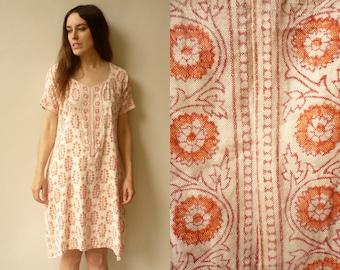 Vintage Indian Cotton Woodblock Printed Tunic Top Size Medium