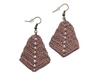 Rhombus Crocheted Earrings , Bronze Metallic Bohemian Handmade,  triangle diamond shaped boho earrings, Cotton Anniversary 2nd Gift for Wife