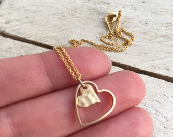 Tiny Double Hearts Necklace, Dainty heart shaped Pendant, gift for her, Layering Minimal Bridesmaids, wedding Valentines Day Girlfriend gift