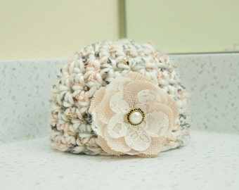 Newborn Girl Ivory Sparkle Flower Beanie Hat Neutral Colors Shimmer Yarn RTS