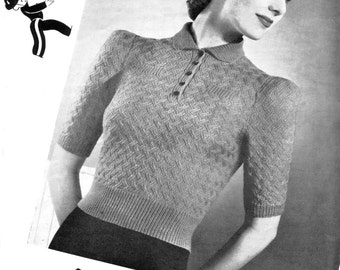 "Basketweave Texture Puff Sleeve Jumper Blouse 34"" Bust Copley's 1430 Vintage 1940s Vintage Knitting Pattern Download"