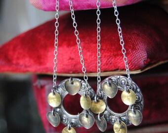 MATED--Vintage Sterling Danish Wedding Brooch Chain Sterling Swan Post EARRINGS