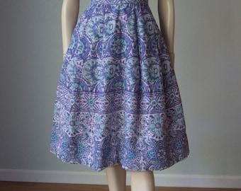 1950s-60s Henri Bendel Cotton Batik Screen Print Dressy Day Dress - So Wearable - Gorgeous Colors - Small