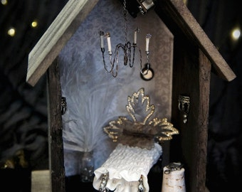 Music Box: BOUDOIR! Diorama Fairy House By Fae Factory Artist Dr Franky Dolan (Handmade Miniature Furniture Music Box Dollhouse Bed Bedroom)