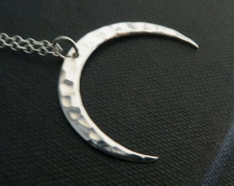 upsidedown moon necklace, hammered crescent moon pendant necklace, nymetals, geometric