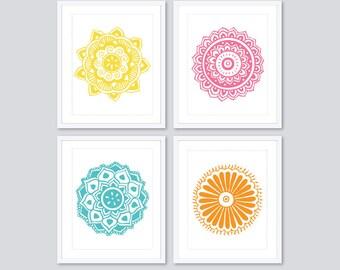 Mandala Prints - Mandala Wall Art - Medallion Prints - Medallion Wall Art - Set of Four Prints - 5x7 or 8x10 - Custom Colors - Modern Decor