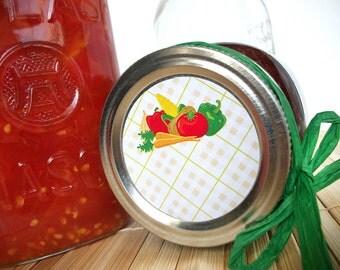 Fancy Plaid Vegetable canning jar labels, round canning labels for mason jars for food preservation, regular or wide mouth mason jar labels