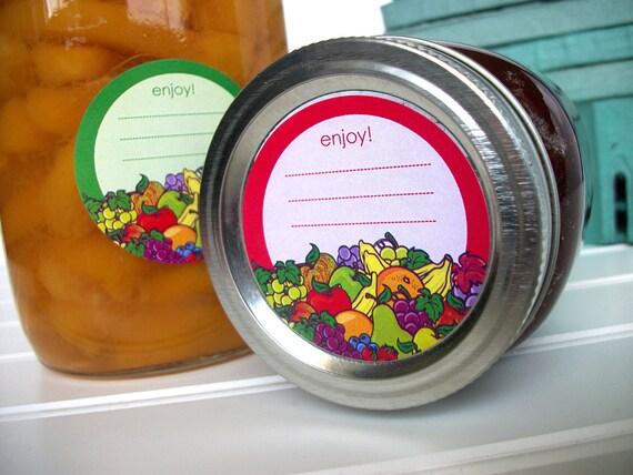 Enjoy Fruit canning labels, jam jar labels, round mason jar labels, fruit preservation canning jar labels, colorful jelly jar labels