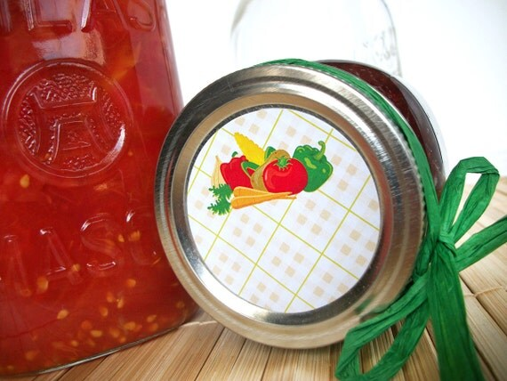 Fancy Plaid Vegetable canning jar labels, round canning labels for mason jars, food preservation, regular or wide mouth mason jar labels