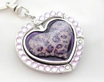 Purple animal print heart purse hook, kawaii keychain bag charm, gift for her