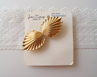 vintage gold shell buckle / 80s 90s Golden Metal Art Deco Seashell Buckle, new old stock by Jontay