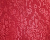 Currant Red Floral, 1980s Vintage, Damask Upholstery Fabric, Home Decor, Large Flowers, Heavy Weight, Polyester Cotton, 16 x 16, B3