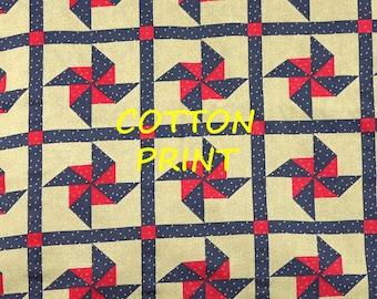 Tan Red Blue Patchwork Print, Quilting Cotton or Craft Fabric, Pinwheel Blocks, half yard, B21