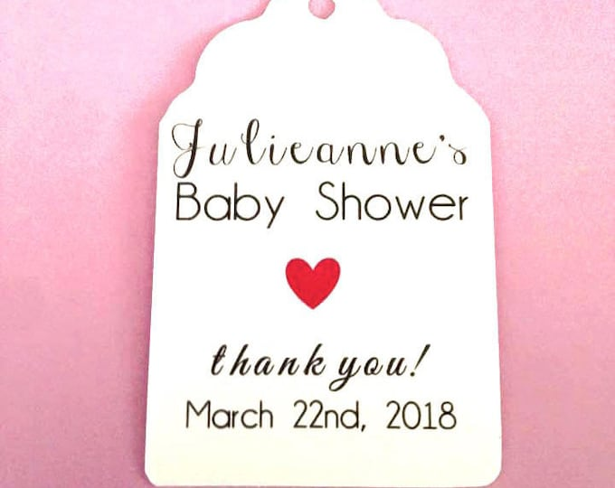 Custom Name Baby Shower Thank You tag with date choice, custom tags, gift tags, favor tags, thank you tags, party favors, bridal shower